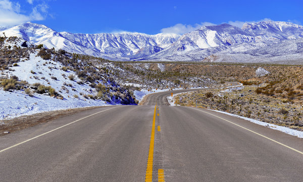 Snow covered alpine terrain in the Mount Charleston region, popular hiking and climbing spots in the Spring Mountains, near Las Vegas Nevada, USA