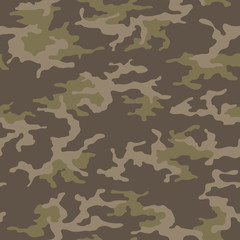 Seamless camouflage pattern. Khaki texture, vector illustration. Camo print background. Abstract military style backdrop