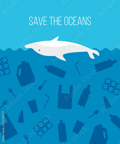 Banner stop ocean plastic pollution  Ecological poster with