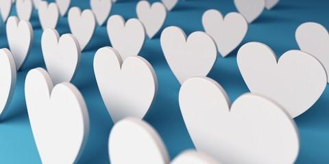 Group of Paper Hearts. 3D Render Illustration