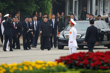 North Korean leader Kim Jong Un attends wreath laying ceremony at Ho Chi Minh Mausoleum in Hanoi