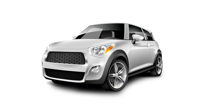 White Generic Compact Small Car On White Background. Microcar Or Mini MPV. Perspective View With Isolated Path.