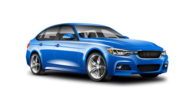 Blue Luxury Sedan Car On White Background. Generic Vehicle Perspective View Illustration With Isolated Path.