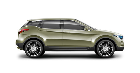 Khaki Generic SUV Car. Off Road Crossover On White Background. Side View With Isolated Path