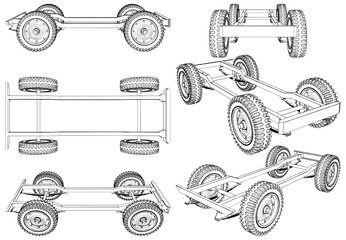 Jeep Wheels Suspension System Vector. Isolated On White Background.