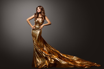 Woman Gold Dress, Fashion Model Gown with Long Tail Train, Young Girl Beauty Portrait Wall mural