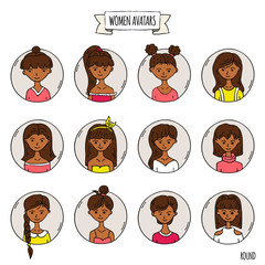 Hand drawn doodle set of people avatar icons. Vector illustration set. Cartoon black headed african women faces symbols. Sketchy elements collection: girls with various hairdress, hairstyle, clothing