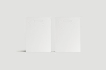 White Paper Shopping Bags on soft gray background. 3D rendering