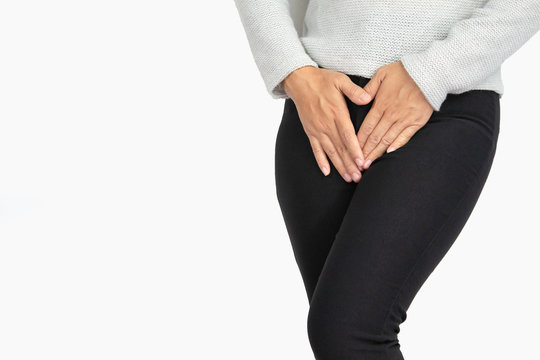 Asian women have problems with hidden spots The problem of vaginal discharge has a foul odor, healthcare and medical concept.