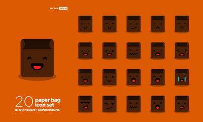 Set of Cute Sun Paper Bag Line Icons In Different Expressions