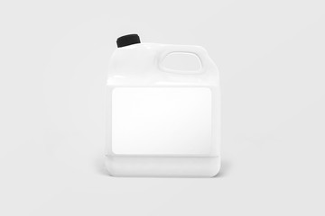 Blank plastic white canister Mock-up liquid laundry detergent package isolated on a soft gray background.3D illustration.