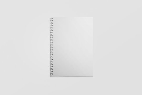 Top view, empty white notebook on soft gray background. 3D illustration