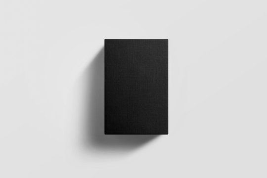 Square Black Box Mock-up on soft gray background. 3D illustration.top view