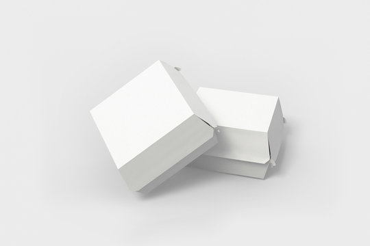 Burger package mockup. 3d illustration isolated on a soft gray background.Boxes for food.