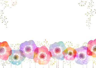 アネモネ 水彩 背景 フレーム Wall mural