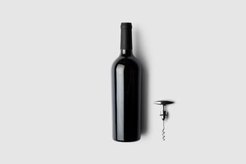 Fototapeta Red wine bottle and corkscrew on soft gray background.3D illustration