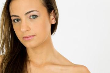 Lovely Long Haired Brunette Model Posing In A Studio Environment