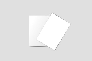 Bi fold Brochure Magazine Mock-up isolated on white background, with clipping path. Half-fold brochure blank white template for mock up and presentation design. 3D rendering.