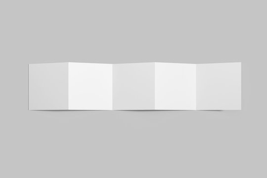 Accordion Fold Brochure, ten page leaflet, concertina fold. Blank white. White 5 page brochure mockup. 3D rendering.