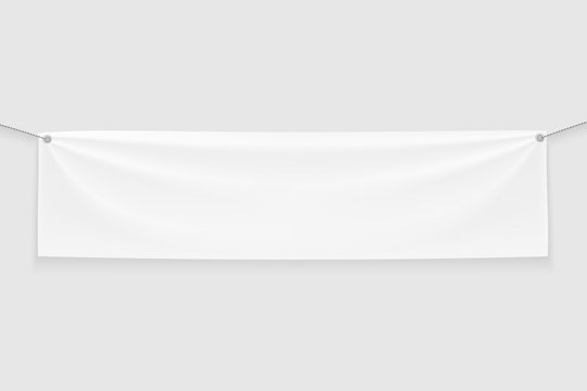 Empty white Banner Mock up with folds on ropes.Isolated on light gray background.3D rendering.