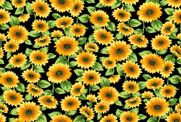 Seamless sunflowers pattern