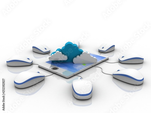3d rendering Cloud symbol on mobile phone connected mouse