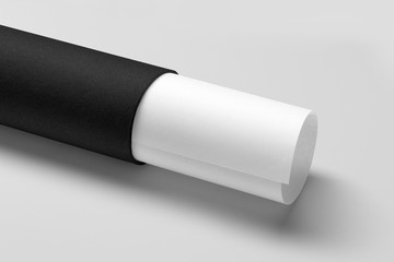 Black tube with white twisted paper sheet Mock up isolated on white background. 3D rendering.