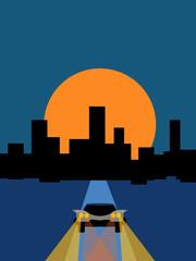 Car and night city