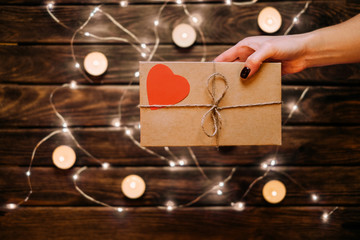 Female gives a gift. Romantic mood concepts ideas.
