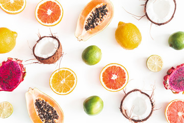 Fruit pattern on white background. Tropical fruits. Summer concept. Flat lay, top view