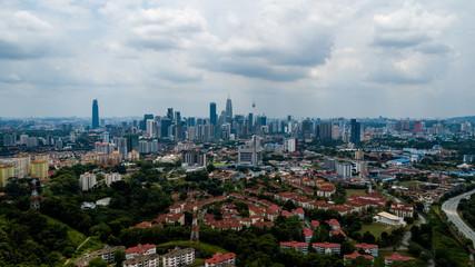 Beautiful aerial view of Kuala Lumpur cityscape in Malaysia