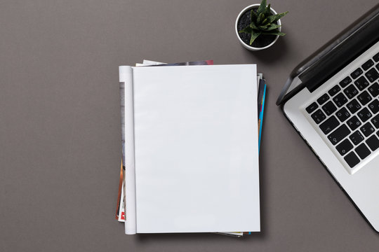 office desk top view with blank notebook  isolated on gray, with clipping path, changeable background