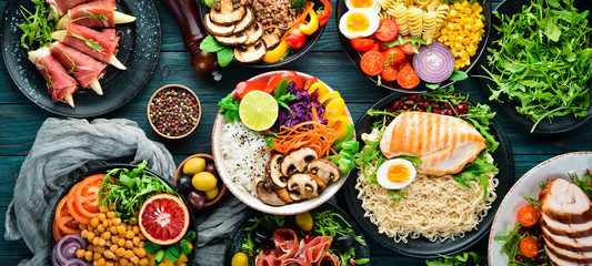 Tuinposter Eten Assortment of healthy food dishes. Top view. Free space for your text.