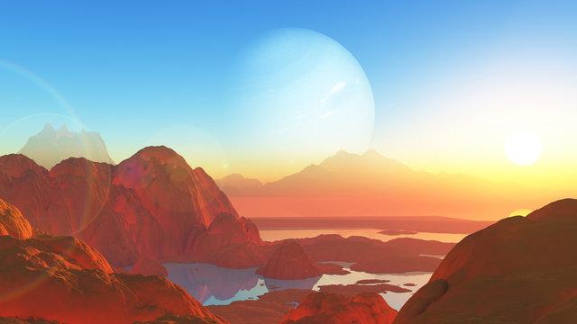 3D surreal mars style landscape