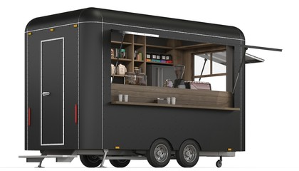 3d Rendering of a food trailer on white background
