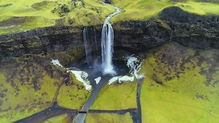 Wall Mural - Aerial view of Seljalandsfoss waterfall, Beautiful waterfall in Iceland. 4K