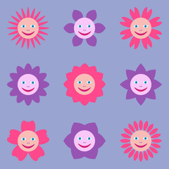 Seamless pattern with different flowers with human smiling faces. Multicolored illustration in cartoon style on lilac background.