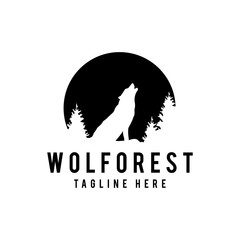 Wolf howling on the moon in the forest. Logo template. Vector illustration. - Vector