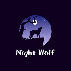 Night landscape in forest with wolf on rock. Wild dog howling in front of moon. Coyote at midnight. Wildlife and panorama. - Vector