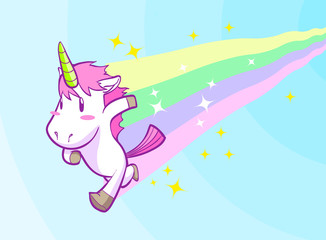 cute running little unicorn background