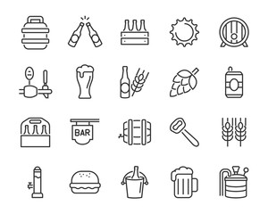 set of beer icon, such as alcohol, brewery, craft beer, hop