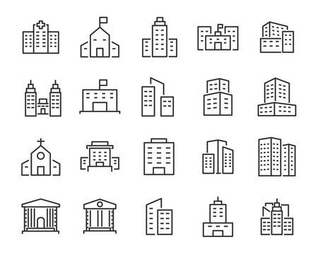 set of buiding icons, such as city, apartment, condominium, town