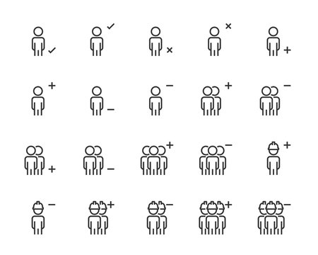 set of people line icons, such as human, team, person, man