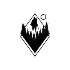 Hand drawn travel badge with fir trees and wolf. coyote. dog. textured vector illustrations. - Vector