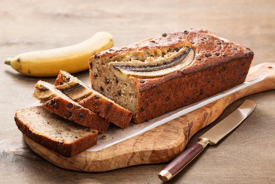 Homemade healthy banana bread or cake for breakfast.