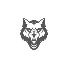 Wolf head silhouette isolated on white background vector illustration.