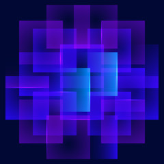 Colorful neon glowing squares. Shining design element for advertising, banner, card. Abstract luminous background. Vector illustration