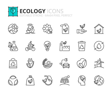 Outline icons about ecology