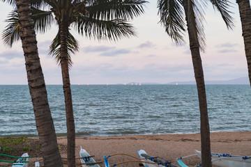 Blick zwischen Palmen am Strand aufs Meer mit Booten am unteren Bildrand