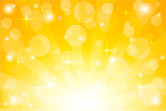 Yellow starburst background with sparkles. Shiny sun rays vector illustration with bokeh lights.